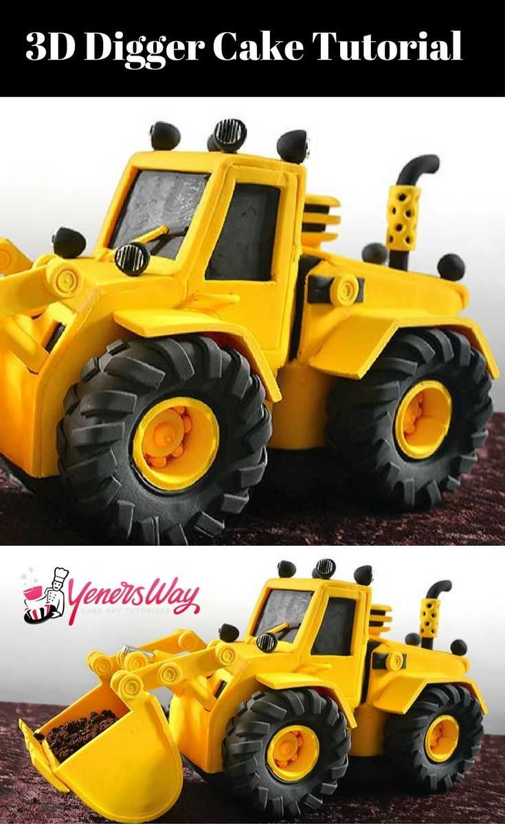 Learn to make this 3D digger cake tutorial - amazing video with such realism. #cake #tutorial #auto #digger #car