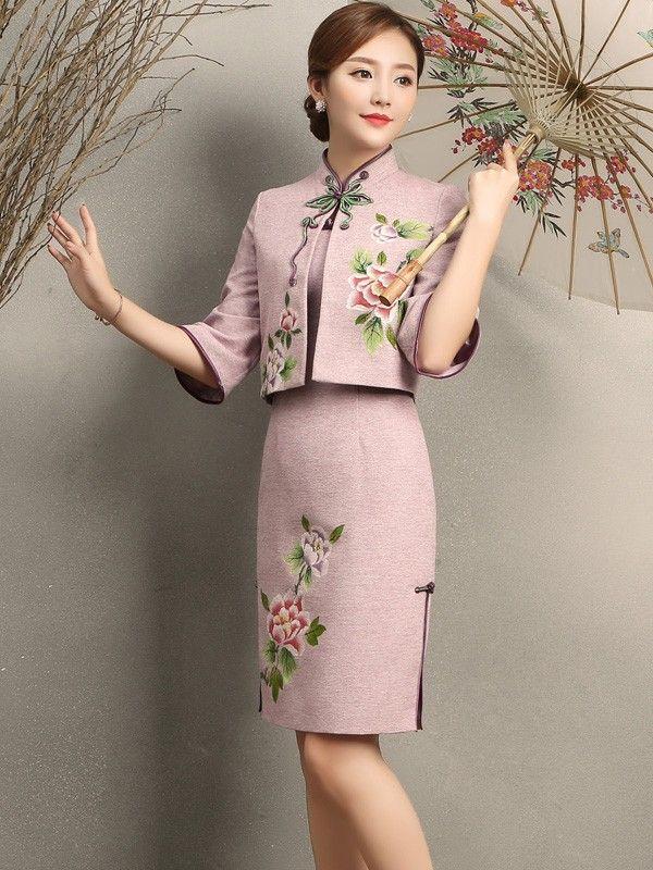 2-Piece Embroidered Qipao / Cheongsam Jacket & Dress - CozyLadyWear