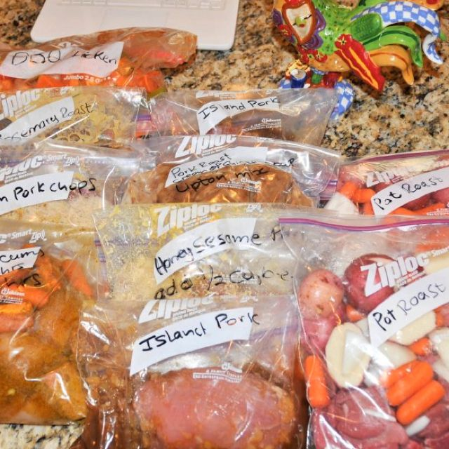 10 crock-pot meals ready to go! Prep ingredients and place in Ziploc bags. Write instructions on bags and freeze flat.