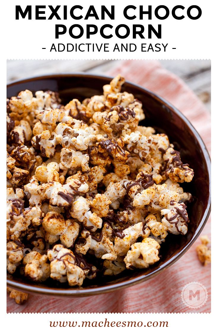 Mexican Chocolate Popcorn: This is probably the most addictive popcorn I've made. Slightly sweet but with a spicy kick! This recipe makes a big bowl of it, but you won't want to share! @Macheesmo