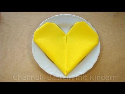 Servietten falten Herz - einfache DIY Tischdeko - z.B. für Hochzeit - YouTube