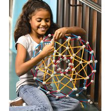 Students will explore art, math and architecture while constructing bridges, pyramids, stars, even shadows from the fourth dimension. ZomeTool 3 contains 558 struts in different lengths and colors, and 180 connector balls with multiple angles for creating large and complex structures.