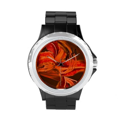 Orange Flower Wrist Watch