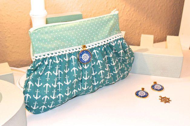 Schminktäschchen - Maritime Kosmetiktasche Knitty mint Anchor - ein Designerstück von Mariechen-Stoffkreationen bei DaWanda