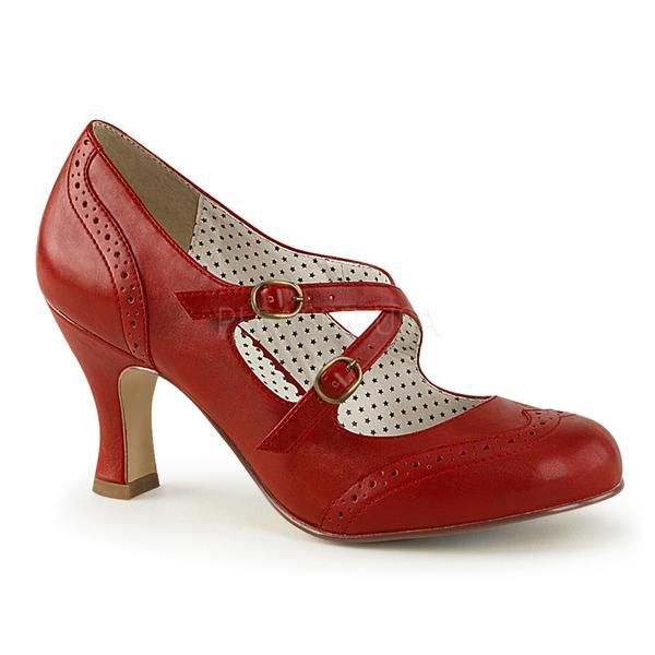 """All new from Pinup Couture Flapper-35 in red with criss cross strapmary jane pump with kitten heel. These heels are essential for any Pin-Up. Finished with a faux leather adjustable strap. If you happen to be in between sizes, we highly suggest to order the next size up. Whole Sizes Only 3"""" Heel Criss Cross Adjustable Strap Imported"""