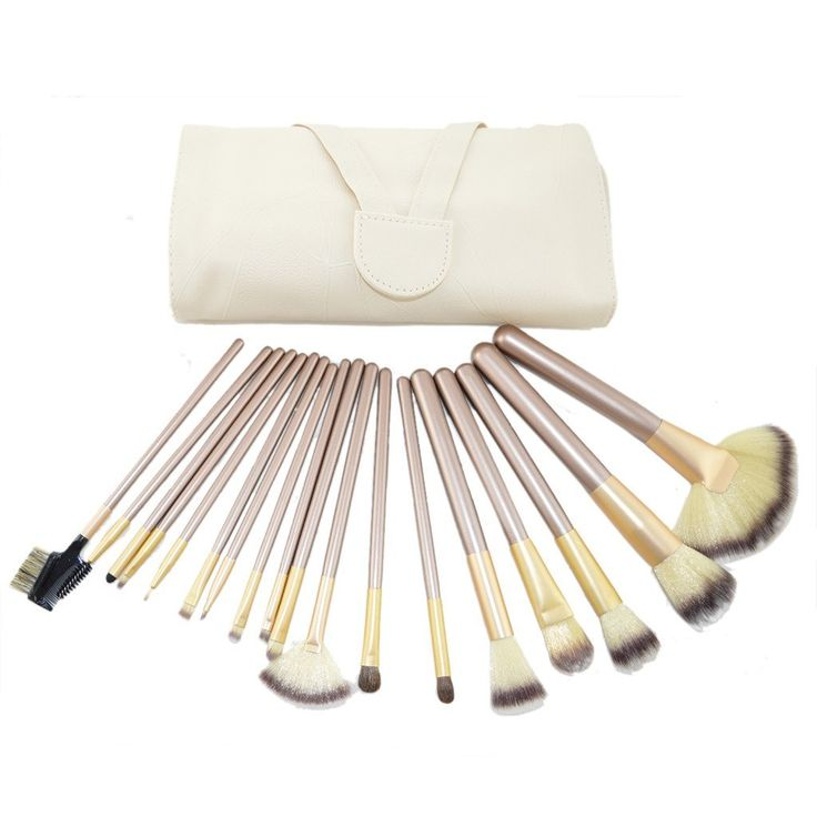 Vedar Beauty 18PCS Professional Makeup Brushes Set Natural Cosmetic Brush Set with Leather Cae Bag for Eyeliner Face Concealer (Gloden 18PCS) * You can find out more details at the link of the image.