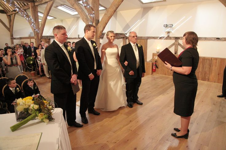 The wedding ceremony at Winters Barns