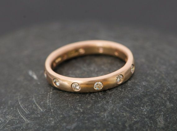 18k Gold Diamond Ring -Rose Gold Eternity Band - Wedding Band with Diamonds - Rose Gold Ring - Made to Order- FREE SHIPPING