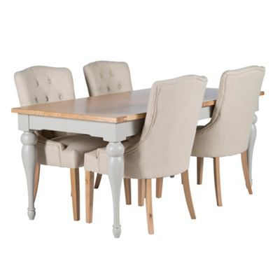Willis & Gambier Oak and painted 'Worcester' large extending dining table and set of 4 beige 'Paris' chairs- at Debenhams.com