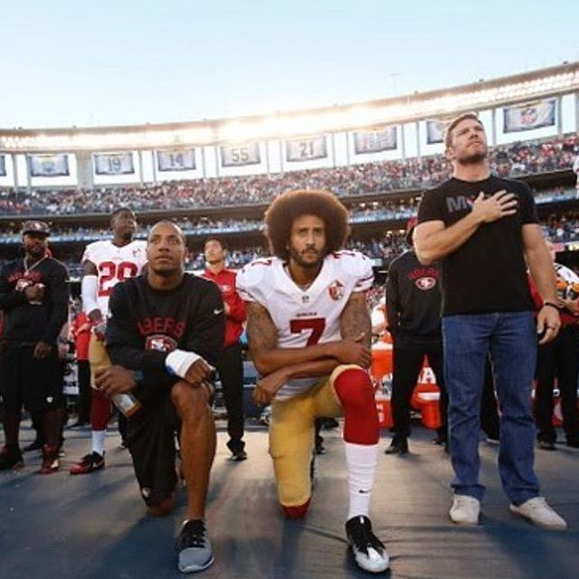 Takes a knee during the National Anthem to bring awareness of racial inequalities that exist in America.