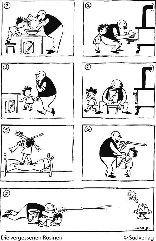 Comic aus sieben Bildern von e.o. plauen. Vater und Sohn backen einen ...