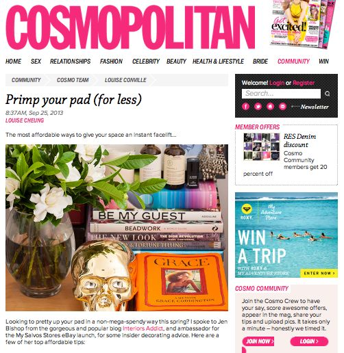 Jen's decorating tips in #Cosmo