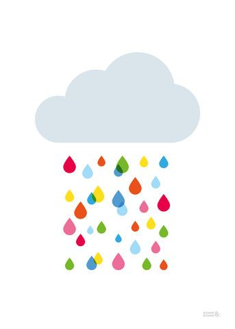 Multicoloured Rain Cloud Print | Kids Multicoloured Rain Cloud Poster | Children's Wall Art | Showler