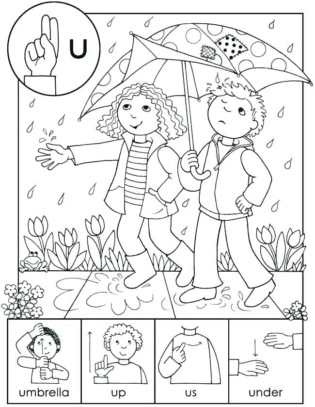 Coloring Pages Sign Language Kids Book On Alphabet Worksheets Free