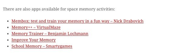 apps available for space memory activities