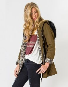 Parka with fur detail and hood
