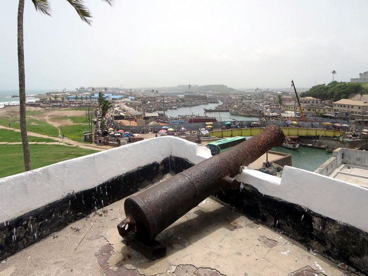 St. George's Castle (1482) at Elmina, Ghana, overlooks the Benya Lagoon and its bustling fish market.