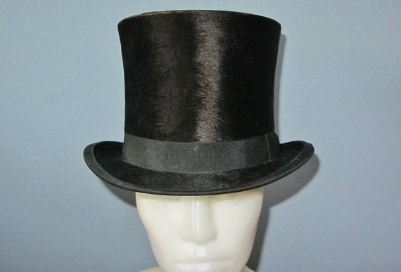 1800s Antique Civil War Era Beaver Skin Stovepipe Top Hat Black Monarch Brand ORIGINAL @ HatsForward