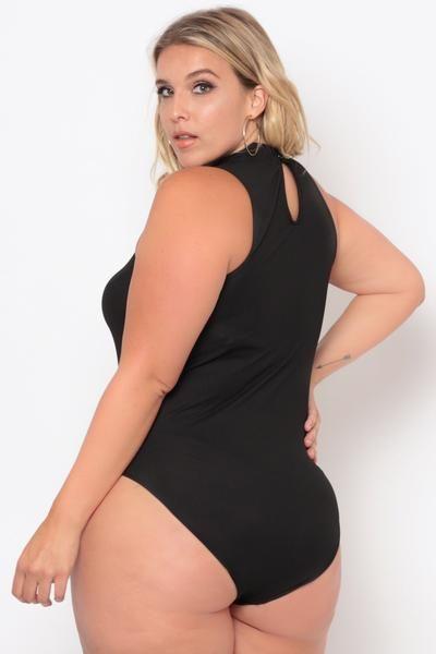 236bad01fad Plus Size Spaghetti Cut Out Bodysuit - Black