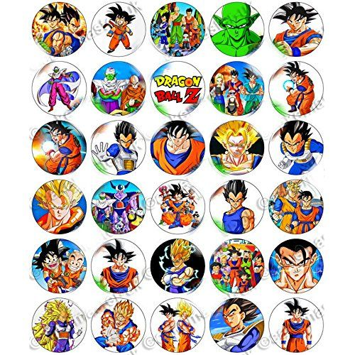 30 x dragon ball z edible rice wafer paper cupcake toppers for Anime beyblade cake topper decoration set