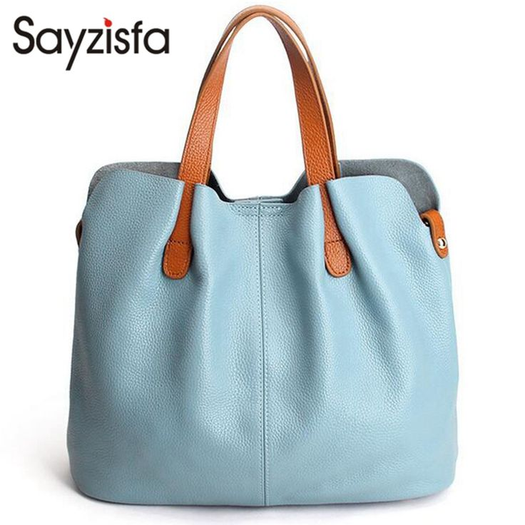 Sayzisfa 2017 Summer Women Handbag Genuine Leather Tote Shoulder Bag Bucket Ladies Purse Casual Shopping Bag Satchel Bolsos T282 with Free Shipping have discount 47.0% Off sales