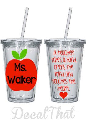 Teacher Appreciation Tumbler with Apple and Quote by DecalThat, $12.00