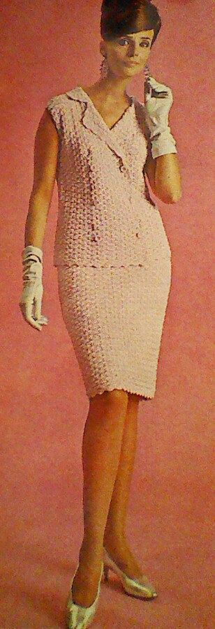 Vintage Crocheted Women's Porcelain Pink Suit Pattern