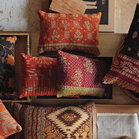 Kantha quilted pillow: made from re-purposed saris.