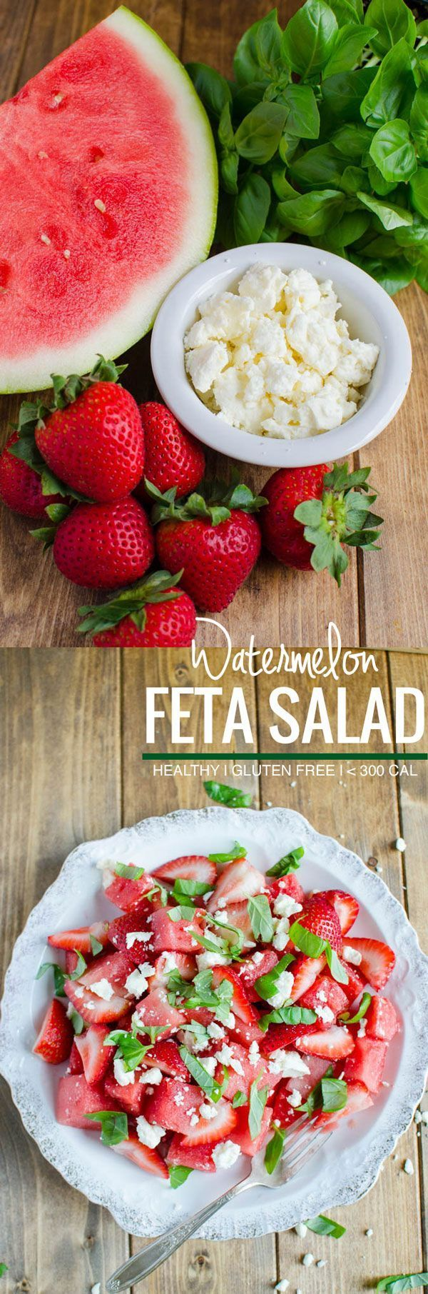 Watermelon feta basil salad: Simple, refreshing salad to enjoy fresh fruits. Perfect as a side dish or a low calorie meal. Also healthy, full of nutrients, gluten free | http://watchwhatueat.com (Soup Recipes Gluten Free)