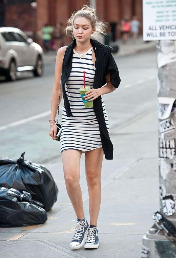 gigi hadid stripes dresses street style