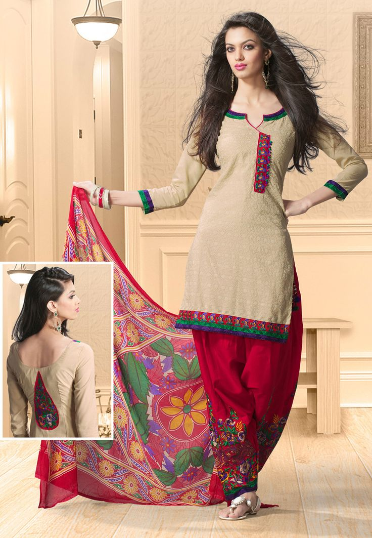 Beige Cotton Salwar Kameez Online Shopping: KFF47