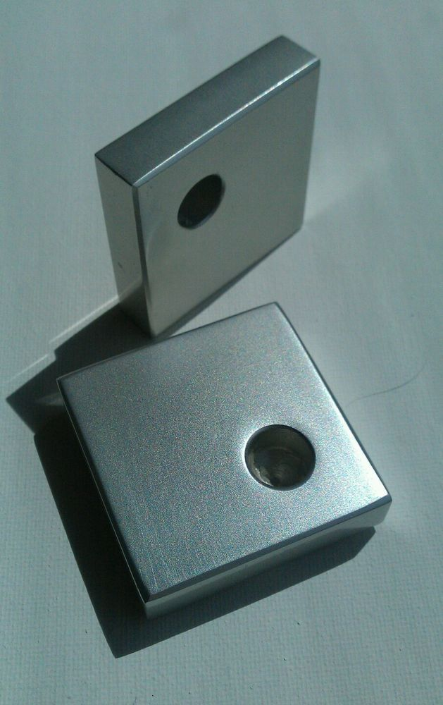 Modernist aluminium pair of minimalist candle holders Finn Haugaard Danish
