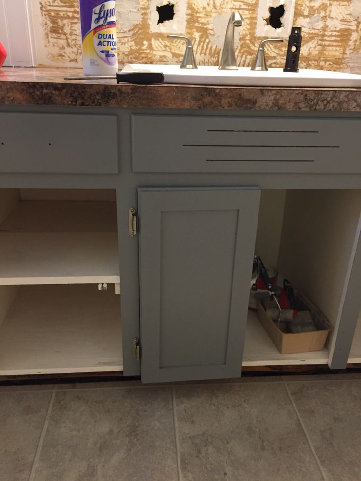 Kitchen Armoire Distressed Cabinets Moonquake Behr Hi-gloss Paint Applied With A Small Foam ...