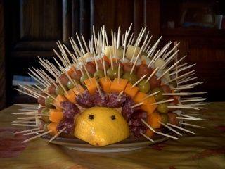 Hedgehog cheese & fruit platter...cute!