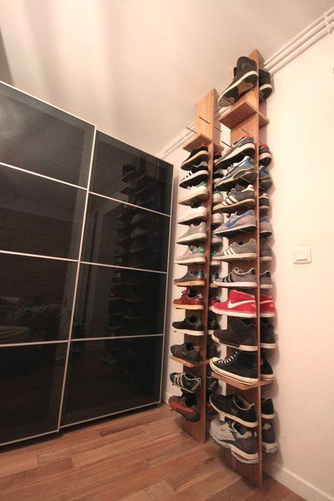 Les 25 meilleures id es de la cat gorie tag res chaussures sur pinterest rangement for Rangement chaussures dans petit espace
