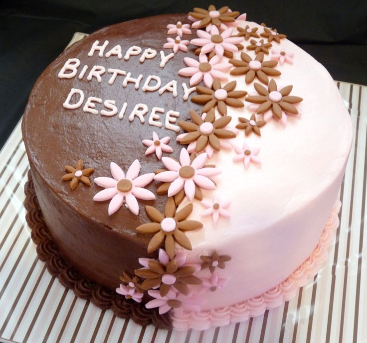 Two Tone Flower Cake. I Like The Idea The Flowers On This One, But