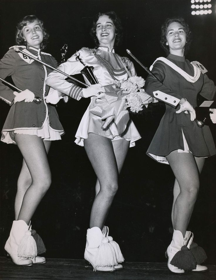 Beverly Shelton (Charleston High School), Miss Kanawha Majorette Patti Bostic (South Charleston High School) and Jean Ann Williams (East Bank High School) were the top majorettes in 1959. Credit: Gazette-Mail file photo