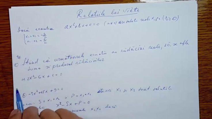 Relatiile lui Viete - Algebra - Clasa a IX-a   090502-01