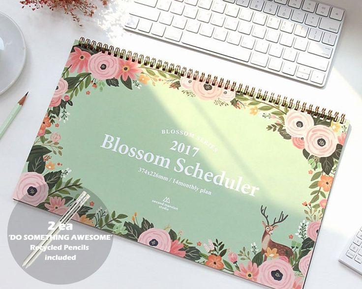 """Amazon.com : 'Blossom Scheduler' 2017 Planner Calendar Wire Bound Monthly Planner Desk Pad Calendar Organizer Calendar Schedule Agenda, 14 Months, 14.76""""x9.05"""" (Mint) : Office Products"""