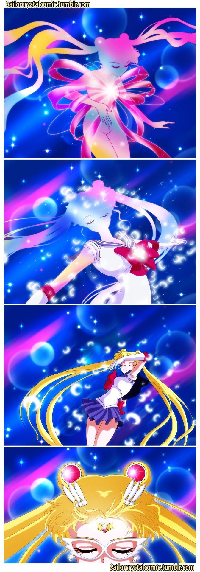 Sailor Moon Crystal comic: Usagi's first time transformating (manga story-wise).