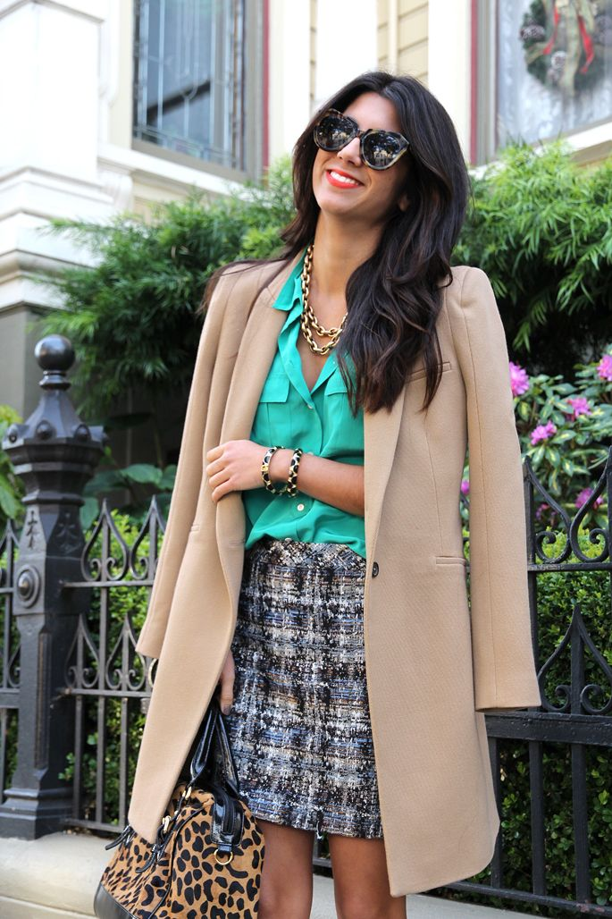 : Chic Work, Outfits Posts, Camels Coats, Southern Charm, Silk Blouses, Tweed Skirts, Offices Wear, Business Casual, Bright Colors