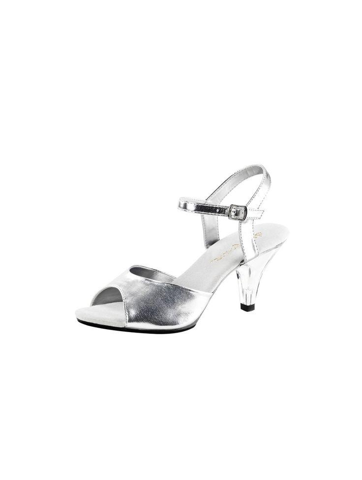 Sandale de soirée petit talon transparent de coloris argent #sandale #chaussures #paris #foxyladyparis #mode #nupieds #talon #fashion