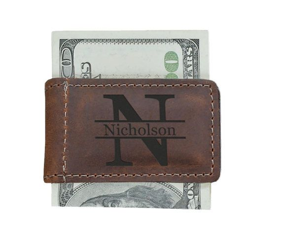 Mens Leather Wallet Mens Personalized Money Clip Custom