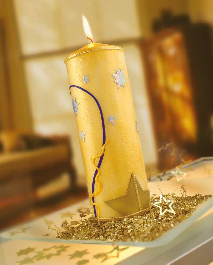 Weihnachtliche Kerze mit Candlepaint und Wachsplatten - Weihnachten - Lichter…
