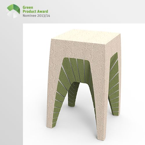 4th place Newcomers Green Product Award 2013/14, category furniture: Furniture made from biological material EcoCradle. Radiates lifestyle and brings nature into the house.