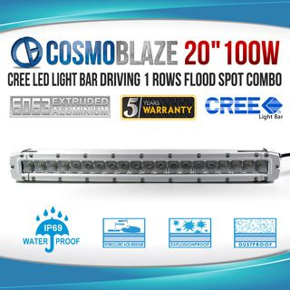"Cosmoblaze WHITE MARINE 20"" 100W CREE LED Light Bar Driving 1 row Boat Car 4WD"