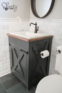 11 DIY Bathroom Vanity Plans You'll Love: Farmhouse DIY Bathroom Vanity From Shanty 2 Chic