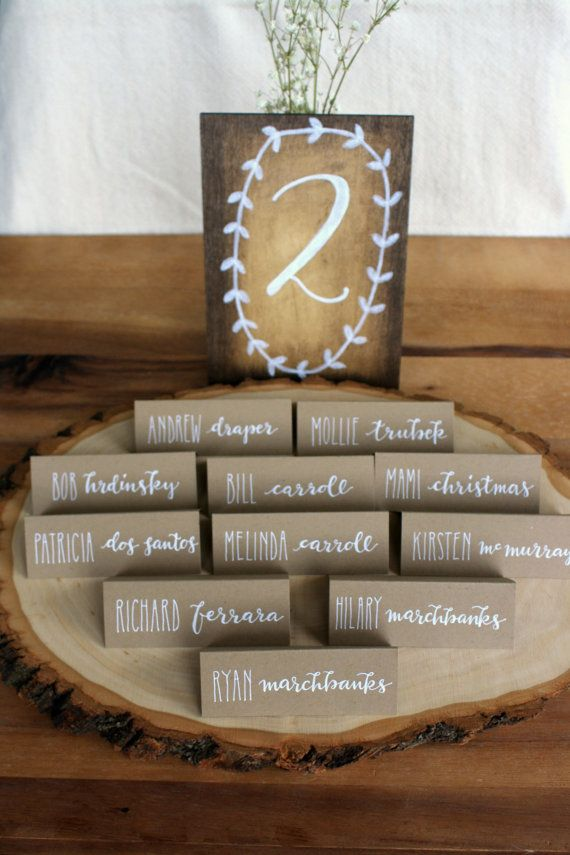 custom calligraphed kraft brown wedding place by theapothecarybee