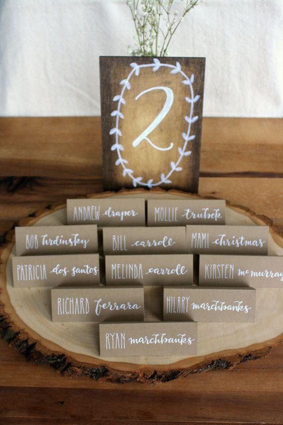 calligraphié personnalisé kraft mariage cartes par theapothecarybee