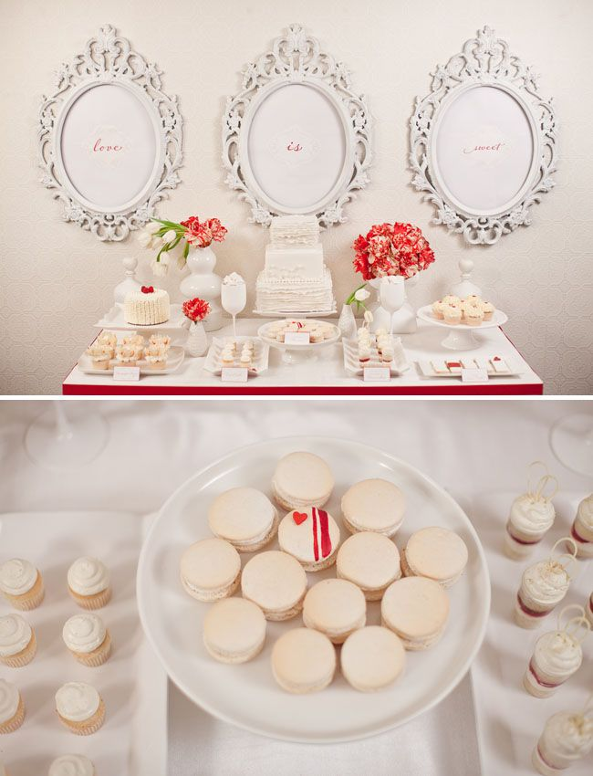 Vintage Bride ~ Love Is Sweet. A Dessert Table for 2 for Valentine's Day via greenweddingshoes - Photo: Gabriel Ryan ~ #vintagebride #vintagewedding #vintagebridemagazine